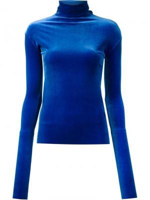 Велюровый джемпер с отворотной горловиной Les Animaux. Цвет: синий