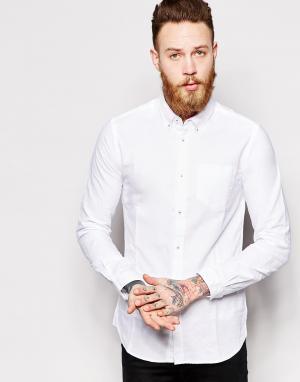 Dr Denim Оксфордская рубашка слим Pete. Цвет: белый