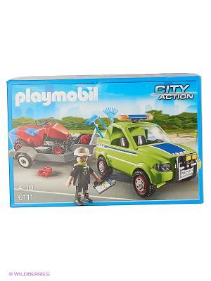 Городские службы: Автомобиль с колесной газонокосилкой и аксессуарами Playmobil. Цвет: зеленый, красный