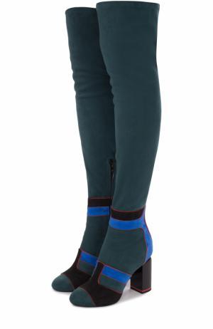 Замшевые ботфорты с контрастной отделкой на устойчивом каблуке Pierre Hardy. Цвет: разноцветный