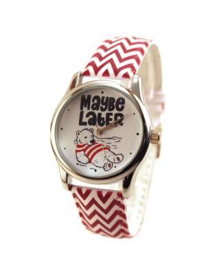 Дизайнерские часы Maybe Later Tina Bolotina. Цвет: темно-синий, красный, белый