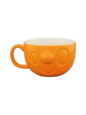 Кружка Мордашка оранжевая Elan Gallery. Цвет: оранжевый