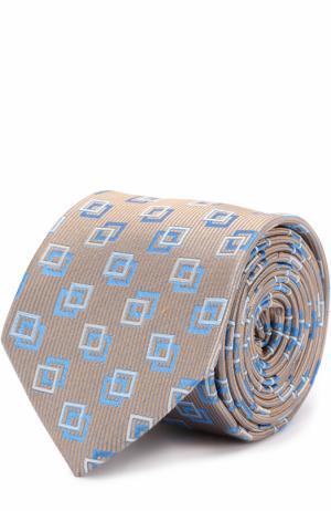 Шелковый галстук с узором Eton. Цвет: бежевый