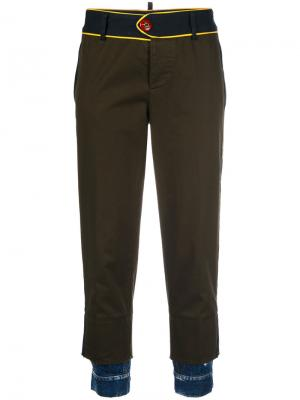 Utilitarian trousers with denim cuffs Dsquared2. Цвет: зелёный