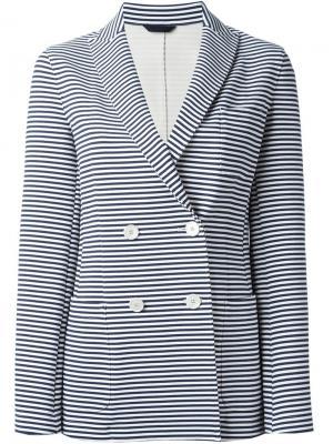 Двубортный полосатый пиджак Fay. Цвет: синий