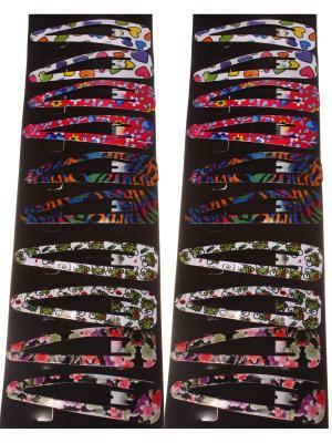 Заколки для волос клип-клап крупные в бело-зеленый сердечко цветок, набор 20 штук Радужки. Цвет: зеленый, белый