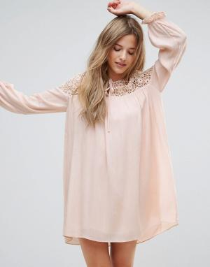 The English Factory Платье-туника с длинными рукавами, вышивкой и завязкой Fac. Цвет: розовый