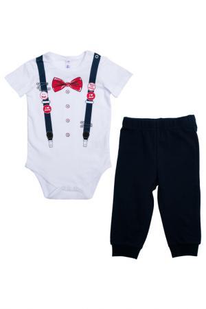 Комплект - боди, брюки PlayToday. Цвет: белый, синий, красный