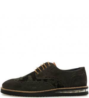 Повседневные ботинки из замши и текстиля NOBRAND. Цвет: хаки