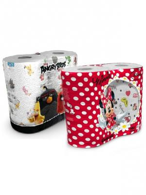 Набор из 4х бумажных полотенец Минни Маус 3 сл/80 л и Angry Birds 2 сл/75л, 4 рул/набор World Cart. Цвет: белый