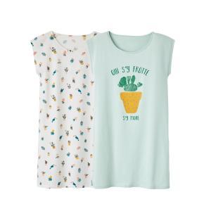2 ночные сорочки La Redoute Collections. Цвет: белый + зелено-голубой