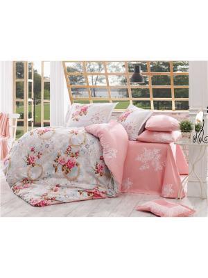 Кпб 1,5 сп. (Евро) поплин CLEMENTINA розовое HOBBY HOME COLLECTION. Цвет: розовый