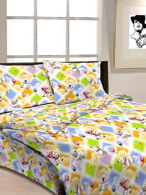 Комплект в кроватку Ясли Letto. Цвет: желтый, белый, голубой