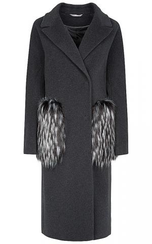 Пальто с карманами из меха Элема