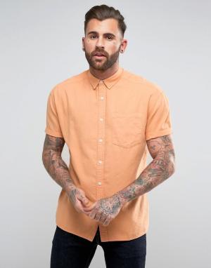 ASOS Оксфордская оранжевая оверсайз-рубашка с короткими рукавами. Цвет: оранжевый