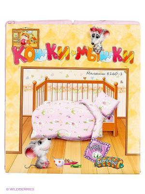 Комплект постельного белья Кошки-Мышки. Цвет: бледно-розовый