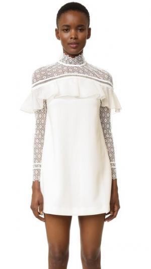 Платье с накидкой в стиле милитари Self Portrait. Цвет: белый