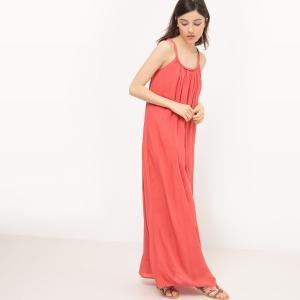 Платье длинное с тонкими бретелями La Redoute Collections. Цвет: оранжевый,слоновая кость,черный
