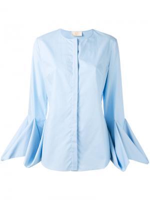Драпированная блузка с длинными рукавами Sara Battaglia. Цвет: синий