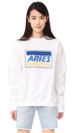 Толстовка с вышивкой в виде кредитной карты Aries. Цвет: белый