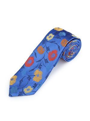 Галстук Poppy Garden Floral Bures Duchamp. Цвет: темно-синий, горчичный, коралловый, лазурный, оранжевый, светло-оранжевый, синий