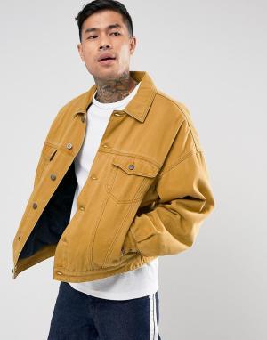 ASOS Джинсовая куртка оверсайз горчичного цвета с уплотнителем. Цвет: оранжевый