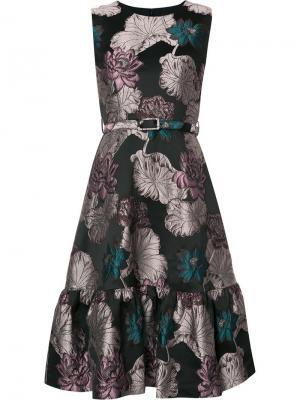 Жаккардовое платье с цветочным рисунком Co. Цвет: чёрный