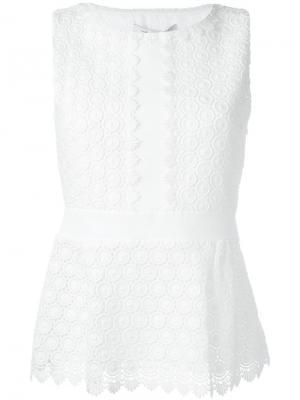 Топ с вышивкой Diane Von Furstenberg. Цвет: белый