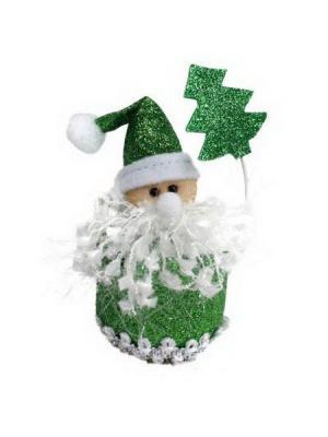Мягкий сувенир Дед Мороз 10см, полиэстер, СНОУБУМ. Цвет: зеленый