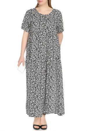 Платье-макси свободного покроя Shalle. Цвет: черно-белый
