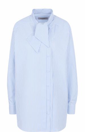 Хлопковая блуза прямого кроя с воротником аскот Valentino. Цвет: голубой
