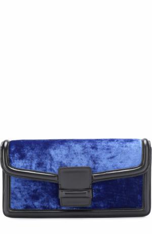 Клатч из кожи и бархата Dries Van Noten. Цвет: синий