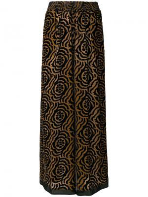 Брюки-палаццо с цветочным принтом Stefano Mortari. Цвет: коричневый