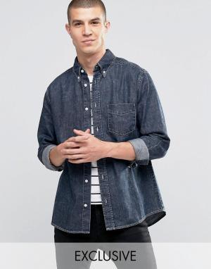 Brooklyn Supply Co. Черная выбеленная рубашка с потертым эффектом Co. Цвет: синий