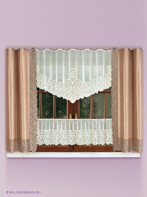 Комплект штор для кухни Haft. Цвет: кремовый, светло-коричневый