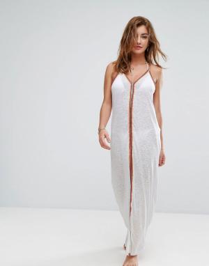 River Island Пляжное платье макси с вышивкой. Цвет: белый