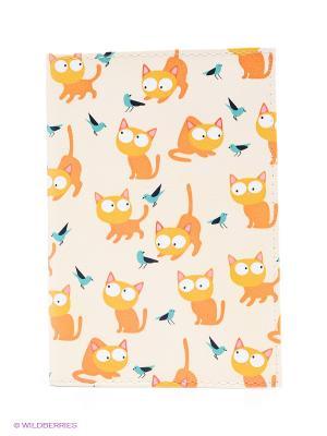 Обложка для автодокументов Рыжие кошки Mitya Veselkov. Цвет: кремовый, оранжевый, горчичный