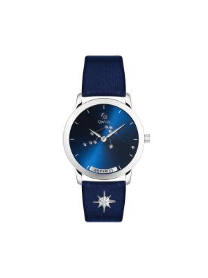 Часы ювелирные лимитированная коллекция Galaxy Aquarius-Водолей QWILL. Цвет: синий
