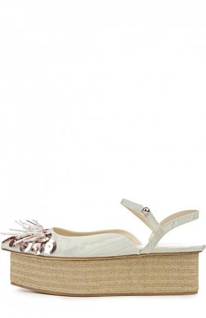Текстильные туфли с вышивкой Delpozo. Цвет: светло-голубой