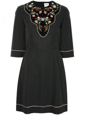 Платье с цветочной вышивкой Vilshenko. Цвет: чёрный