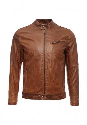 Куртка кожаная Bata. Цвет: коричневый