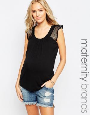 Ripe Топ для беременных с сетчатыми вставками Maternity Jules. Цвет: черный