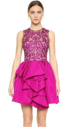 Коктейльное платье с цветочной вышивкой Marchesa. Цвет: фуксия