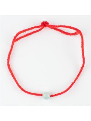 Браслет Красная нить амазонит Колечки. Цвет: зеленый