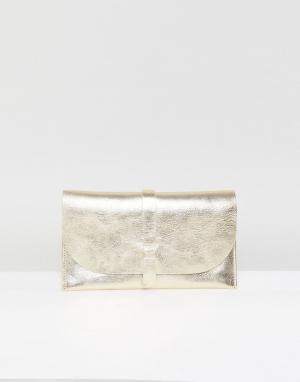 ASOS Кожаный кошелек. Цвет: золотой