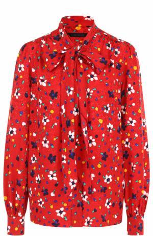 Шелковая блуза с принтом и воротником аскот Marc Jacobs. Цвет: красный