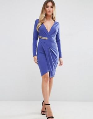 Jessica Wright Платье с длинными рукавами и запахом золотистой пряжкой Wrig. Цвет: синий