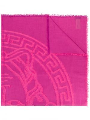 Шаль с вышитым логотипом Medusa Versace. Цвет: розовый и фиолетовый