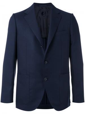 Пиджак с прямоугольными лацканами Caruso. Цвет: синий
