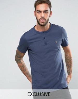 Farah Эксклюзивная футболка хенли узкого кроя. Цвет: темно-синий